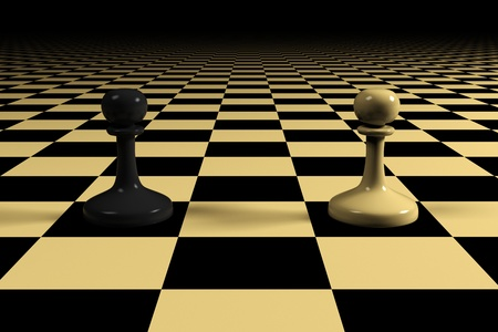 two pawns on a huge chessboard
