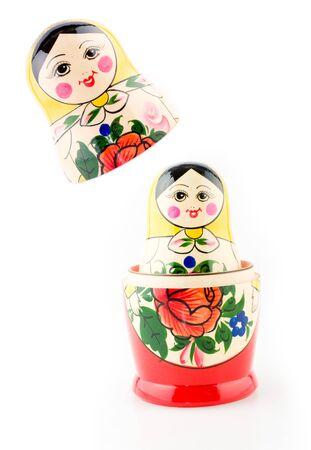 matryoshka doll on the white