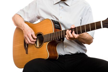 man plays guitar Stock Photo