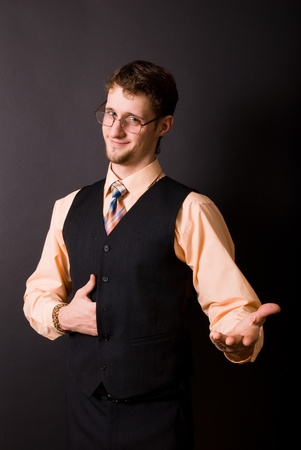 handsome young man in glasses and a tie