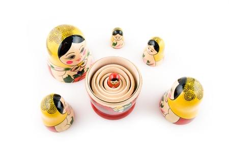 matryoshka dolls on the white background Stock Photo