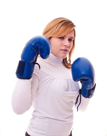 ring stand: beautiful girl in boxing gloves