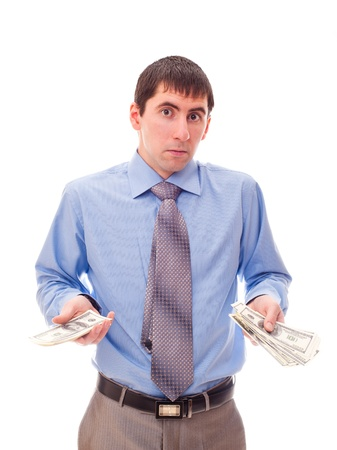 young man with money in his hand Stock Photo
