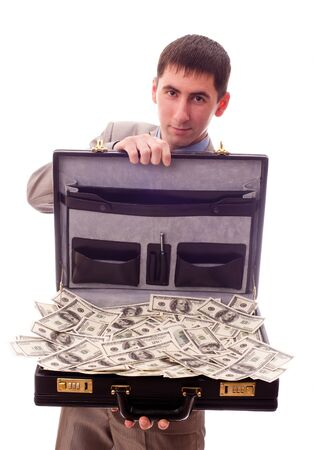 man with a briefcase full of money Stock Photo