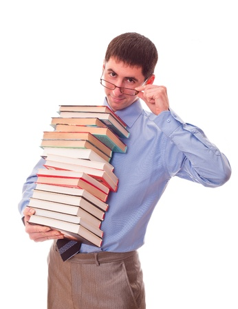 young man with stack of books photo