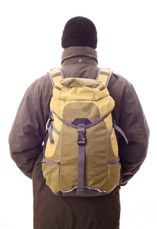 man with a backpack on his back photo