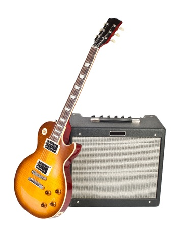 guitar amplifier: guitar and amplifier (isolated on white)