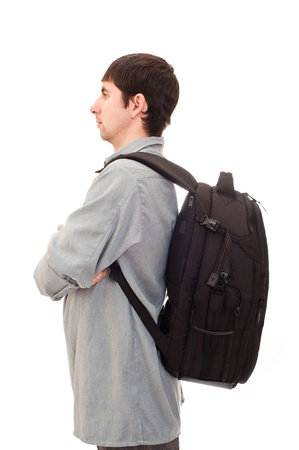 young man with a rucksack photo