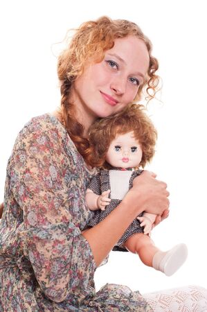 girl with a doll Stock Photo