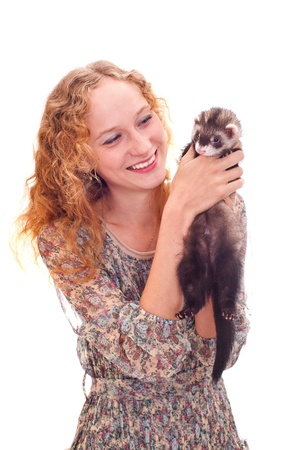 beautiful girl with the ferret Stock Photo