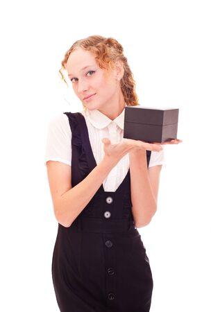 beautiful girl holding black box