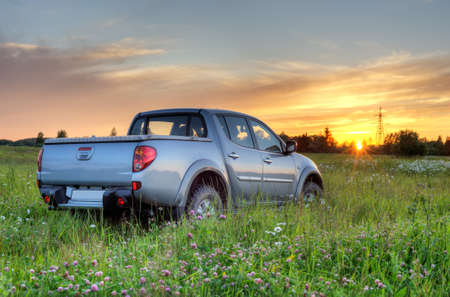 car in the meadow Stock Photo