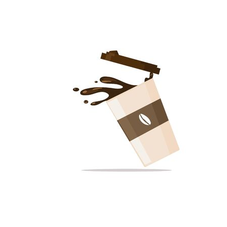 Coffee splash from spilled paper cup with coffee seed logo vector illustration isolated with shadow