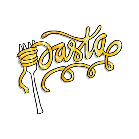 Pasta word written with a spaghetti noodles Illustration