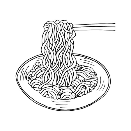 Doodle Noodle at bowl and stick Illustration