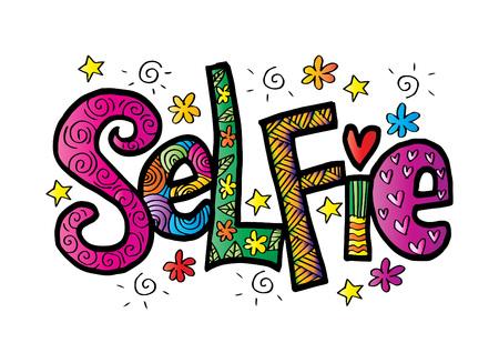 Selfie hand lettering. on plain background