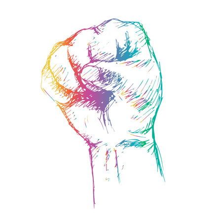 fist colorful sketch vector illustration. Illustration