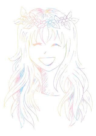 Cute Girl with a Rim with Flowers on Her Head illustration.