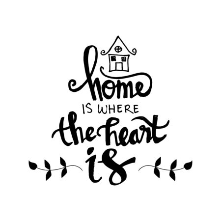 Home is where your heart is Inspirational quote isolated on plain background