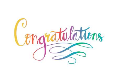 Congratulazioni tipografia illustrazione colorata.