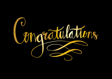 Congratulations text in gold on black background.