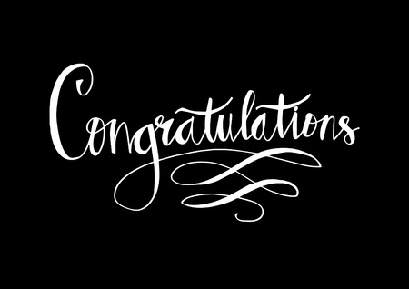 Congratulations text in white color on black background. Illustration