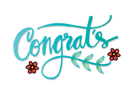 Congratulations card. Hand lettering calligraphy.