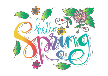 Hello Spring lettering. Greeting card design.