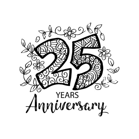 Twenty fifth years anniversary black and white lettering Vector illustration.