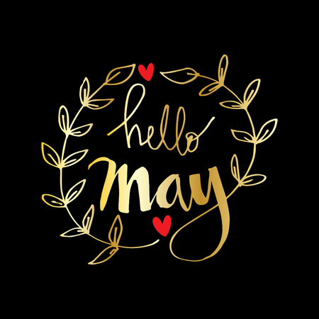 Hello May Hand Lettering Inscription vector illustration design.