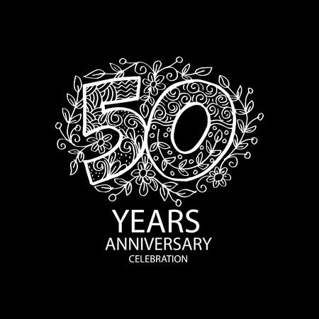 White Emblem of 50th anniversary on black background. Vector illustration.