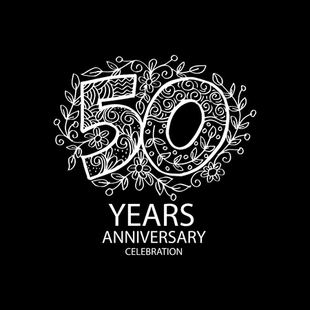 White Emblem of 50th anniversary on black background. Vector illustration.