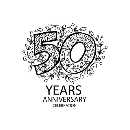 Emblem of 50th anniversary on white background. Vector illustration. Çizim