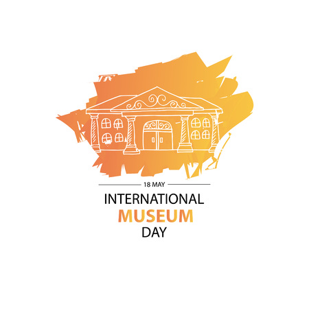 International Museum Day banner with building on color blot on white background. Vector illustration. Illustration