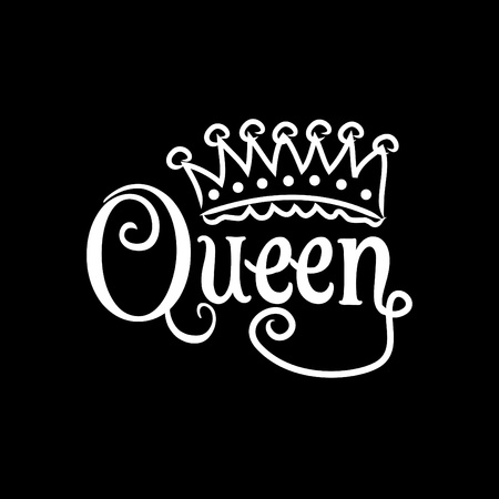 Queen hand lettering illustration with crown design.
