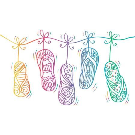 Sketchy of flip-flops in hanging vector illustration. Vettoriali