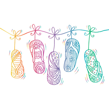 Sketchy of flip-flops in hanging vector illustration. Vectores