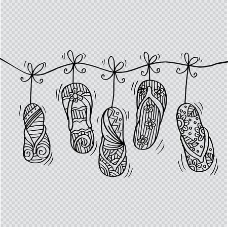 Sketchy of flip-flops in hanging Illustration
