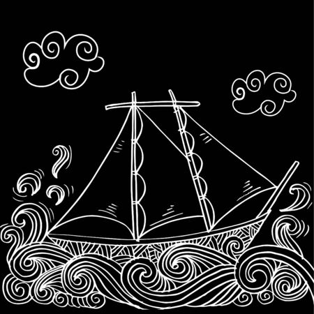 Doodle style sketch of a sailboat