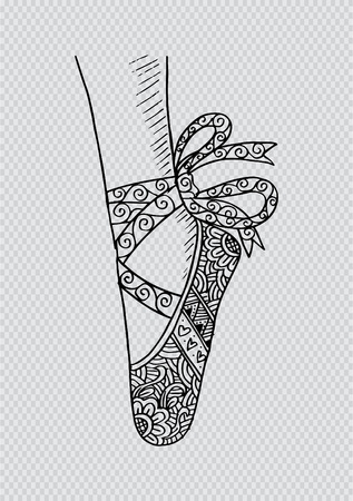 Leg and shoes of a young ballerina illustration, hand drawing