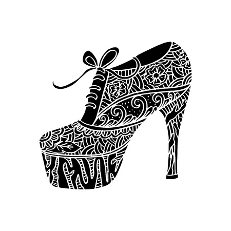 Women's shoes with floral ornament.