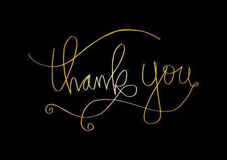 Thank you hand lettering on black background. Vector illustration. Illustration
