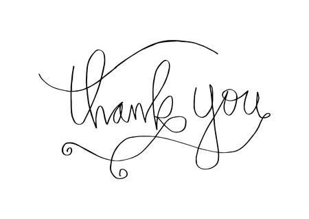 Thank you hand lettering on white background. Vector illustration.