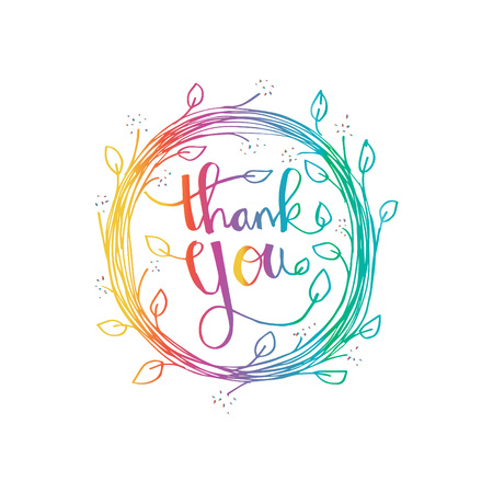 Lettering Thank you. Hand drawing illustration Illustration