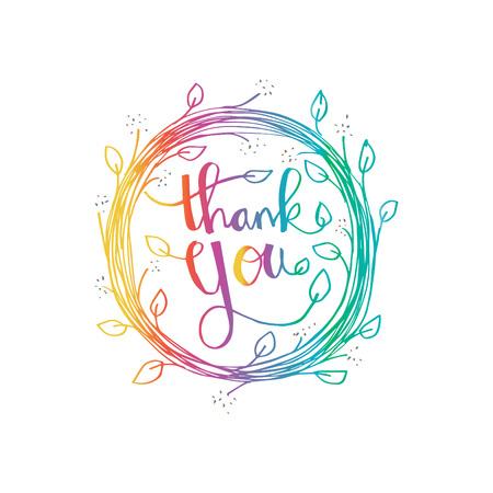 Lettering Thank you. Hand drawing illustration Illustration