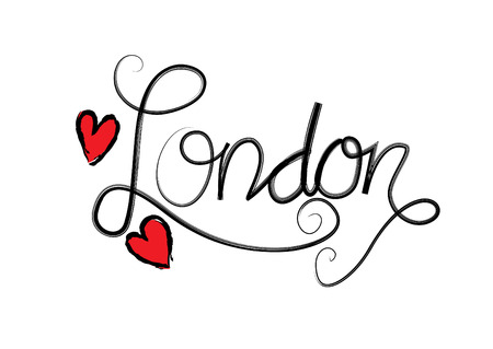 London. Hand written city name. Hand lettering calligraphy.