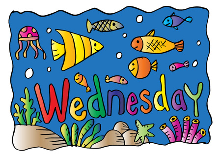 Wednesday Coloring Page with fishes