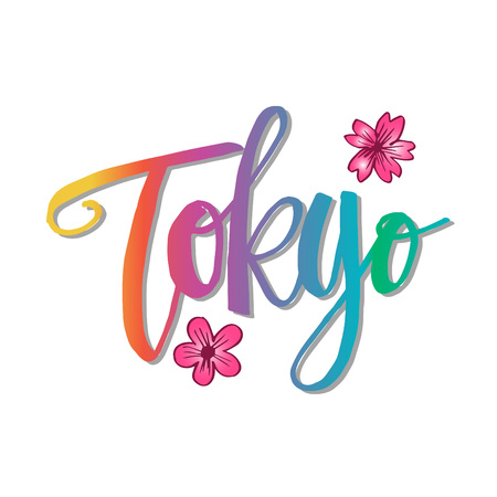 Tokyo. Hand written city name. Hand lettering calligraphy. Illustration