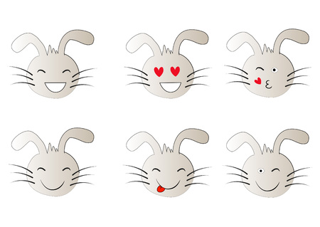 Set of Emoticons. Set of Emoji. Smiley icons. Rabbit.
