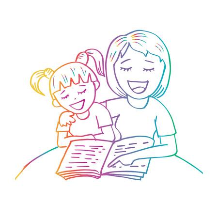 Maman lisant un livre à son enfant Vecteurs